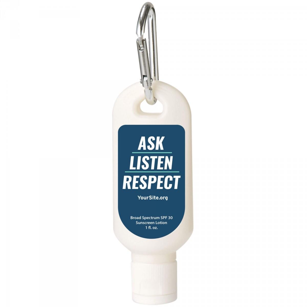 Ask Listen Respect Sunscreen Carabiner