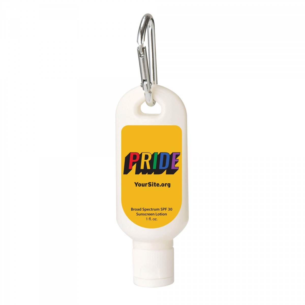 Retro Gay Pride Sunscreen Carabiner