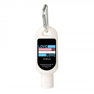 Love Is Love Trans Pride Sunscreen Carabiner