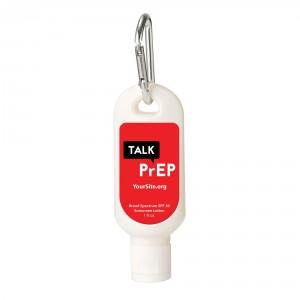 Talk PrEP Sunscreen Carabiner
