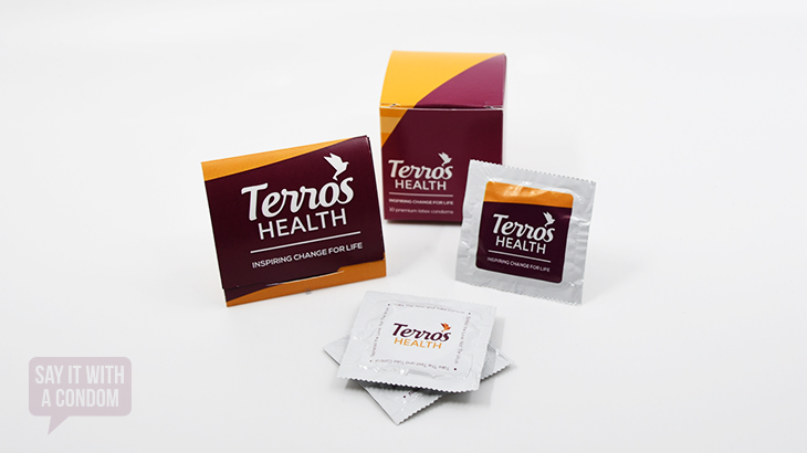 custom designed terros health condom, trifold, and cube.