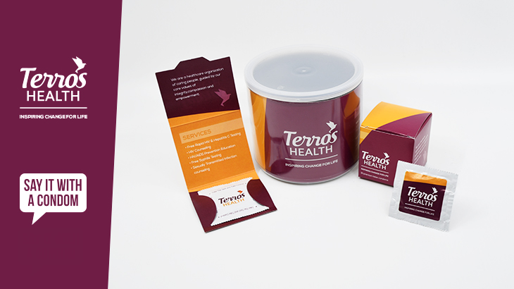 terros health say it with a condom cobranded trifold, canister, cube, and foil