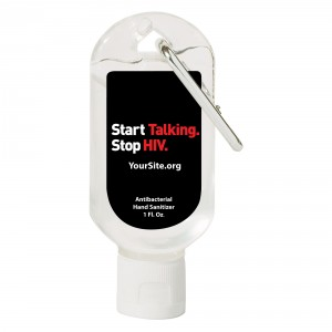 Start Talking Stop HIV Hand Sanitizer Carabiner